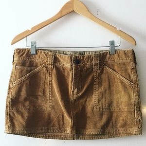 Hollister Ochre Corduroy Mini Skirt